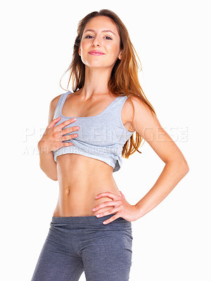Buy stock photo Woman showing off her body against white background