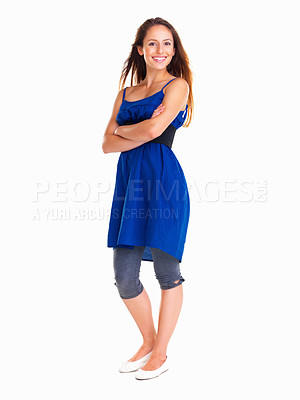 Buy stock photo Woman with arms crossed against a white background