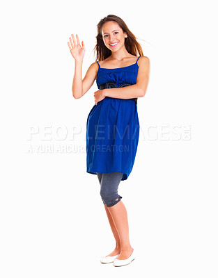 Buy stock photo pretty woman waving