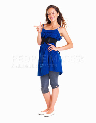 Buy stock photo Happy woman pointing