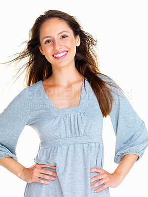 Buy stock photo Confident woman with hands on hips against white background