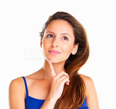 Buy stock photo Woman with finger on chin against white background