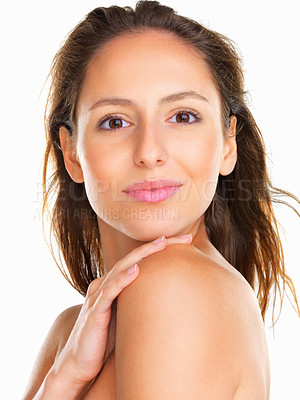 Buy stock photo Woman looking into camera