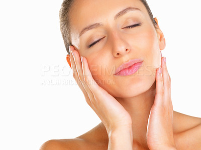 Buy stock photo Head shot of woman tilting her head with eyes closed