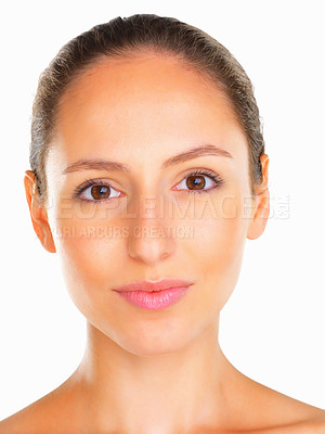 Buy stock photo Head shot of woman looking into camera