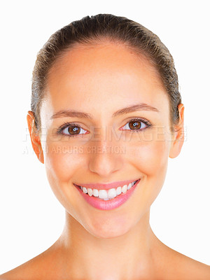 Buy stock photo Head shot of woman looking into camera and smiling