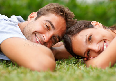 Buy stock photo Romantic couple enjoying their time outdoors