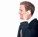 successful young businessman talking on mobile phone