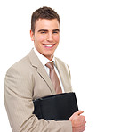 Young happy Business man holding folder with paper work