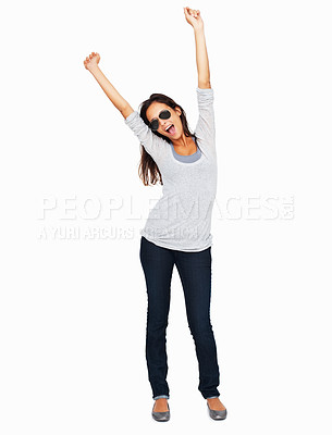 Buy stock photo Full-frame sexy woman throwing arms up in the air with huge enthusiasm