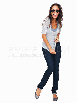 Buy stock photo Full-frame sexy woman tugging on t-shirt laughing
