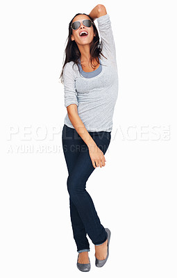 Buy stock photo Full-frame sexy woman with her hand sweeping back her hair