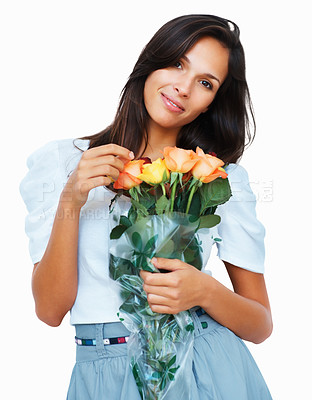 Buy stock photo Pretty woman holding a bunch of roses against white background
