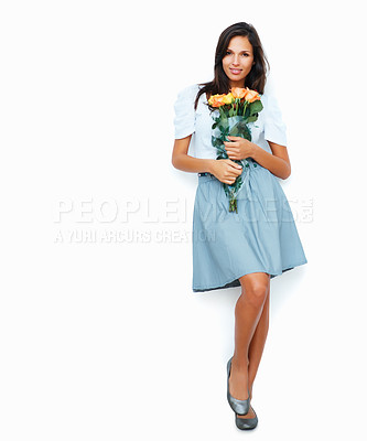 Buy stock photo Pretty woman holding flowers against white background