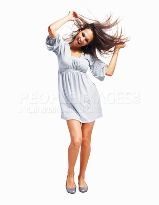 Buy stock photo Woman dancing against white background