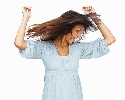 Buy stock photo Head shot of woman dancing against white background