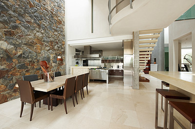 Buy stock photo Modern interior in large house with bright natural light and a minimalist style