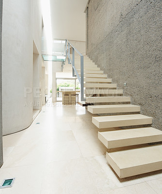 Buy stock photo House interior of modern wood stairs with a minimalist style - copyspace