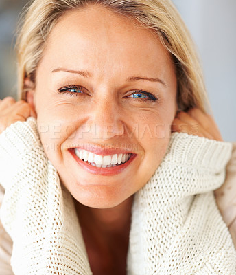 Buy stock photo Macro shot of a fresh beautiful mid adult woman smiling