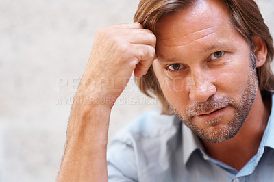 Buy stock photo Closeup portrait of a smart confident mid adult man