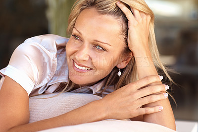 Buy stock photo Closeup portrait of a pretty relaxed mature woman looking away