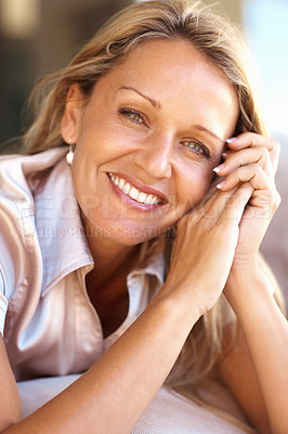 Buy stock photo Closeup portrait of a happy casual mid adult woman smiling