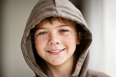 Buy stock photo Portrait of a happy small boy wearing jacket