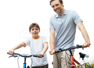 Buy stock photo Portrait of a caucasian father and son standing with bicycle - Outdoor