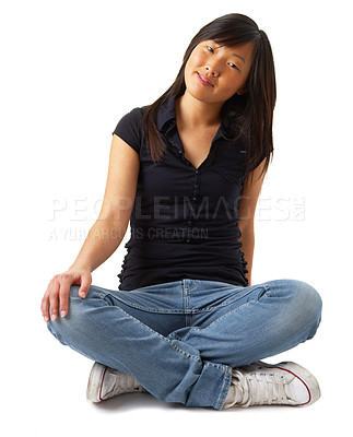 Buy stock photo Fashion portrait of an beautiful girl sitting relaxed. Isolated on white background. Unique keyword for this collection: nanna123
