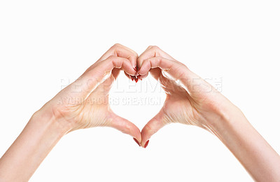 Buy stock photo Love concepts - Hands forming a heart on white background