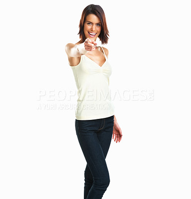 Buy stock photo Portrait of happy young woman pointing finger at you Isolated on white background
