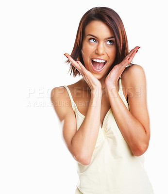 Buy stock photo An isolated shot of a happy thinking woman looking up against white background