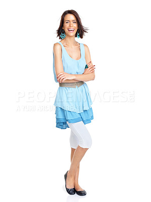 Buy stock photo Full length portrait of a happy young woman smiling with her hand folded against white background