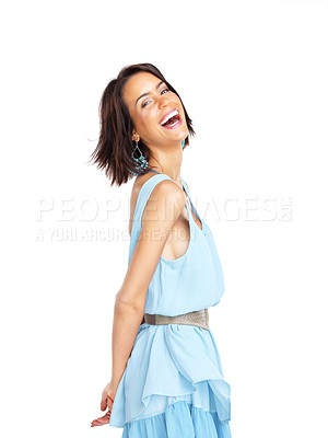 Buy stock photo Portrait of a beautiful young girl looking happy against white background