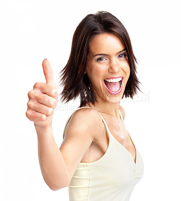 Buy stock photo Portrait of a excited young woman showing a thumb up sign on white background