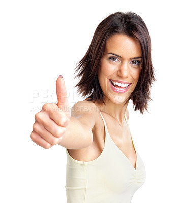 Buy stock photo Portrait of a happy young lady showing a thumb up sign on isolated background