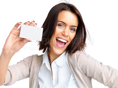 Buy stock photo Portrait of a pretty young woman holding an empty business card over white background