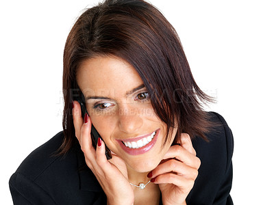 Buy stock photo Closeup portrait of a smiling young businesswoman speaking on the mobile phone against white background