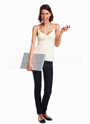 Buy stock photo Isolated full length of a happy college girl carrying a laptop on white background