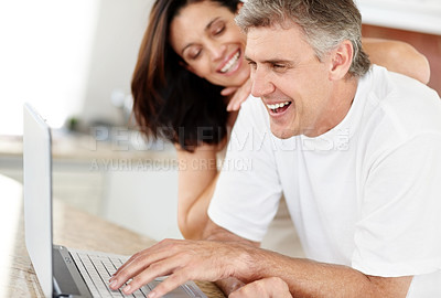 Buy stock photo Portrait of mature couple using laptop computer and smiling