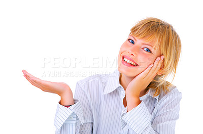 Buy stock photo Showing, giving or presenting. Portrait of a beautiful young woman, holding out her hand as displaying something. Ready for you to add text.