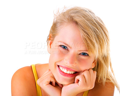 Buy stock photo A beautiful young blonde woman smiling at the camera