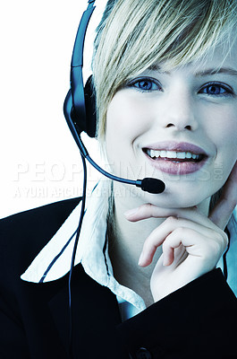 Buy stock photo Beautiful hotline operator with headset - A friendly telephone operator isolated on white with a blue tint.
