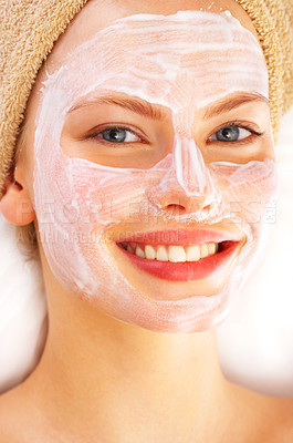 Buy stock photo Portrait of a young woman enjoying a healthy skin treatment at a spa resort.