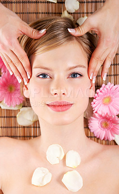 Buy stock photo Young woman receiving massage, overhead view