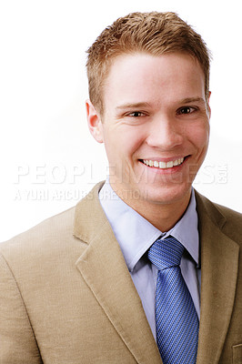 Buy stock photo Portrait of a contented young business man isolated on white.
