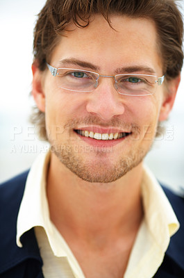 Buy stock photo Satisfied smiling businessman outdoors.