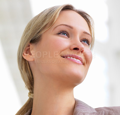 Buy stock photo Close-up portrait of a young beautiful woman smiling