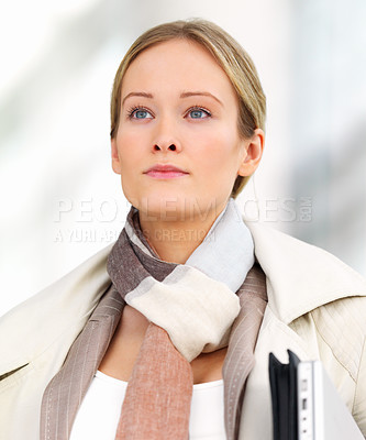 Buy stock photo Close-up portrait of young beautiful business woman