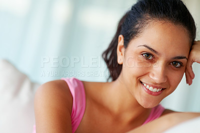 Buy stock photo Closeup portrait of a charming young woman looking happy